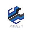 hexagon wrench logo vector image vector image