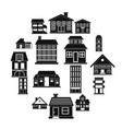 houses black simple icons set vector image