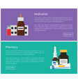 medication and pharmacy web promo posters set vector image vector image