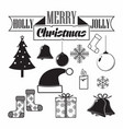 monochrome christmas icon vector image