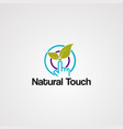 natural touch logo with leaf and circle vector image vector image