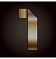 Number metal gold ribbon - 1 - one vector image