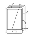 opened phone icon outline style vector image vector image