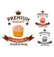 Premium bakery and pastry shop emblem vector image