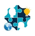 puzzle head teamwork support design vector image vector image