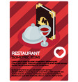 restaurant color isometric poster vector image vector image