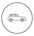 retro car icon black color simple image vector image