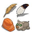 set isolated of rhino helmet feather vector image vector image