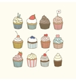 Set of 12 cupcakes vector image