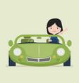 small girl driving green car vector image
