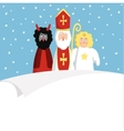 St Nicholas with devilangel and blank paper vector image vector image
