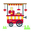 street food trailer with vendor selling hot vector image vector image