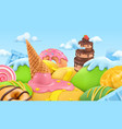 sweet candy landscape 3d cartoon background vector image vector image