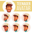 teen boy avatar set arab muslim face vector image vector image