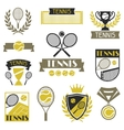 Tennis banners ribbons and badges with icons vector image vector image