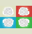 torn wallpapers white brick wall vector image vector image