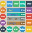 Turkey icon sign Set of twenty colored flat round vector image vector image