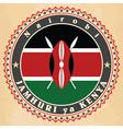 vintage label cards kenya flag vector image