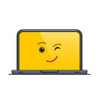 winking laptop computer isolated emoticon vector image