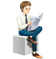 A man reading a newspaper vector image