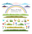 fields constructor kit for cartoon landscape vector image