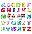 Watercolor kids alphabet isolated boy girl faces vector image