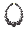 Black pearl necklace bead vector image