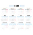 2020 year calendar template in blue and red vector image vector image