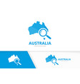 australia and loupe logo combination vector image vector image
