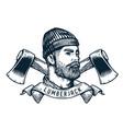 bearded lumberjack with axe axeman handyman logo vector image vector image