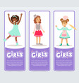 beautiful smiling girls banners set flat vector image