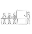 blurred silhouette men group sitting in a desk for vector image vector image