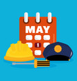 builder helmet and police hat with calendar vector image