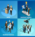 Business winning leaders 4 isometric icons vector image
