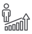career rise line icon work and progress person vector image vector image