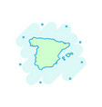 cartoon spain map icon in comic style spain sign vector image