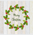christmas wreath of holly berry vector image vector image