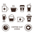 coffee and tea cups linear icons set vector image vector image