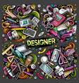 colorful hand drawn doodles cartoon set of vector image vector image