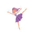 cute fairy in beautiful purple dress little girl vector image vector image