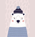 cute polar bear in hat and sweater vertical vector image