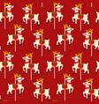 cute reindeer character seamless pattern vector image