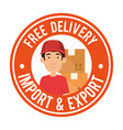 delivery worker with boxes seal vector image vector image