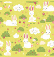 easter bunny seamless pattern kids green vector image