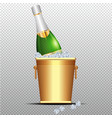 festive cold bottle of champagne in ice bucket on vector image vector image