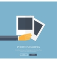 Flat background with hand and vector image vector image