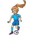football playing girl vector image vector image
