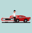 guy with gun sitting on car vector image vector image
