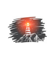 hand drawn beacon lighting at night vector image