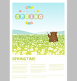 Hello spring landscape background with bear 3 vector image vector image